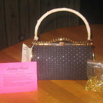 Anthony David Black Satin Clutch Evening Bag W/ Swarovski Crystals Nwt - Nr Photo