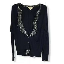 Anthro Monogram Womens Cardigan Sweater Blue Medium Flaw Photo