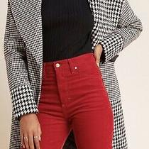 Anthro Rare Houndstooth Colorblocked Plaid Coat L Photo