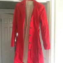 Anthropoligie Lace Up Cotton Coat Solid Red Photo