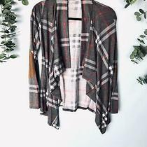 Anthropologie 12pm by Mon Ami Take Me Away Cardigan Gray Plaid Elbow Patch Cardi Photo