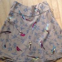 Anthropologie 4 Wool Finch Skirt Birds Elevenses Tan Small Photo
