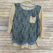 Anthropologie 9-H15 Stcl Paisley Striped Shirt Womens Small Blue Yellow Top Photo