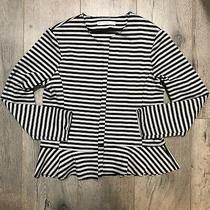 Anthropologie acos&a Black Grey Gray Striped Cardigan Blazer Small S Ruffled Photo
