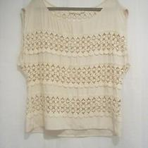 Anthropologie Addison Story S Crochet Caricature Blouse Top Sheer Cut Out 42
