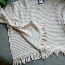 Anthropologie Akemi  Kin Frenchie Fringe Poncho Sweater Xxs Blush Pink Photo