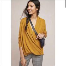 Anthropologie Akemi  Kin Mustard Yellow Wrap Sweater Size Xl Photo