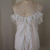 Anthropologie Amulette White Cotton Ruffle Blouse Top With Vintage Antique Style Photo