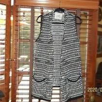 Anthropologie Angel of the North Knit Blk & White  Sweater Vest Sz M Photo