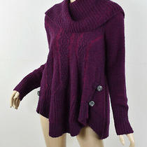 Anthropologie Angel of the North Purple Cabled Boucle Pullover Flared Sweater S Photo