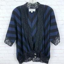Anthropologie Beyond Vintage Size S Blue Stripe Lace Short Sleeve Blouse Top Photo