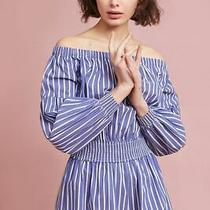 Anthropologie Bishop  Young Striped Off the Shoulder Romper Sz S Nwt 128 Photo