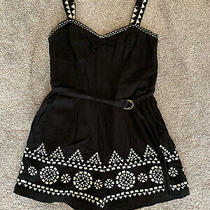 Anthropologie Black Embroidered Romper Size Xs/s Cotton/linen Photo