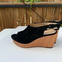 Anthropologie Black Suede Wooden Wedge Sandals Size 9.5 Photo