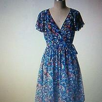Anthropologie Blooming Sapphire Wrap Dress Size 0 Photo