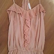 Anthropologie Blue Bird Tank Medium Pink Blush Lace Cinched Waist Photo
