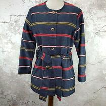 Anthropologie Blue Striped Belted Coat Size Small Piccadilly Jacket Photo