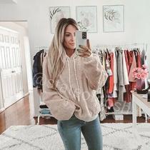 Anthropologie Blush Nanette Sherpa Hoodie Jacket Size L Photo