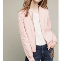 Anthropologie Blush Pink Satin Bomber Baseball Jacket Womens Small Hei Hei Photo