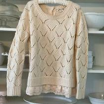 Anthropologie Blush Pink Sweater With Lace Women's Medium Photo