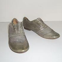 Anthropologie Boutique 9 Sz 7.5 Flats Leather Shoe Gray Taupe Classic New Photo