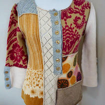 Anthropologie Bricolage Cardigan Sweater Patchwork Floral Sleeping on Snow Xs Photo