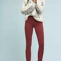 Anthropologie Burgundy Skinny Ankle Buttoned Utility Pants Womens Size 25 Photo