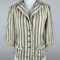 Anthropologie Burning Torch Size Small Jacket Blazer Tan With Black Embroidery Photo