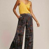 Anthropologie by Etttwa Jessie Velvet Wide Leg Floral Pants Size Small Photo