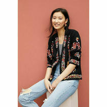 Anthropologie by Maeve Ellen Embroidered Beaded Jacket Size 2 Photo