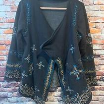 Anthropologie Caite Embroidered Floral Cardigan Jacket Womens Size Small Photo