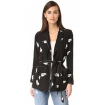 Anthropologie Capulet Zsa Zsa Blazer Black White Leaf Print Belted Jacket Sz Xs Photo