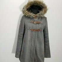 Anthropologie Cartonnier Adare Anorak Jacket 2 Gray Wool Quilted Faur Fur Hood Photo