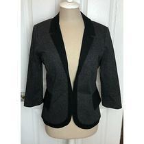 Anthropologie Cartonnier Black Gray Ruffle Jacket Blazer Cotton Size 6 Photo