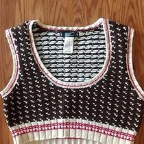 Anthropologie Cartonnier Brown Ivory Pink Check Cropped Sweater Vest Tank Xl Photo