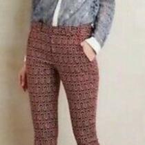 Anthropologie Cartonnier Charlie Trouser Pants Ankle Burgundy Geo Pockets Sz 8  Photo