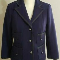 Anthropologie Cartonnier Jacket Size 8 Blue Silver Buttons Pockets Long Sleeve  Photo