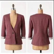 Anthropologie Cartonnier Women's Blazer Light Burgundy Size Medium Long Sleeves Photo