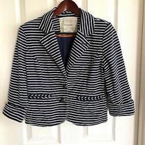Anthropologie Cartonnier Women's en Route Button Blazer Size Sm Nautical Striped Photo