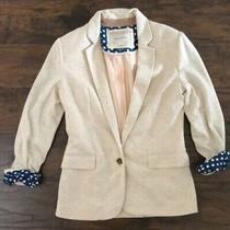 Anthropologie Cartonnier Womens Size Med Dotside Heathered Beige Button Blazer Photo