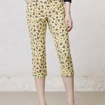 Anthropologie Cartonnier Yellow Retro Floral Charlie Cropped Pants Size 2 Photo