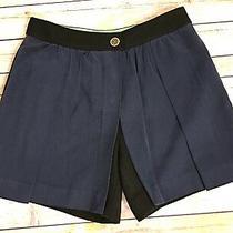 Anthropologie Cartonnnier Navy Black Wool High Waist Skort Shorts Size 2 Photo