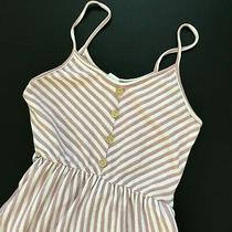 Anthropologie Caution to the Wind Women's Pink White Striped Sleeveless Dress Sm Photo