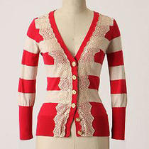 Anthropologie Charlotte Field Game Cardigan L Red & Cream Stripes Photo