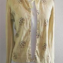 Anthropologie Charlotte Tarantola Floral Romantic Sheer Beaded Sweater Crystals Photo