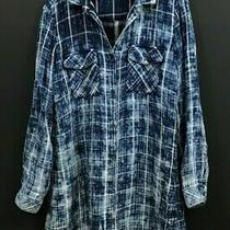 Anthropologie Cloth & Stone Blue Plaid Shirt Dress Long Roll-Tab Sleeves Sz L Photo