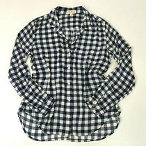 Anthropologie Cloth Stone Button Front Top Medium Blue White Check Long Sleeves Photo