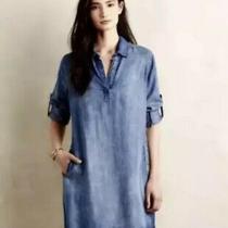 Anthropologie Cloth & Stone Chambray Blue Jean Shirt Dress Pockets Sz S Photo
