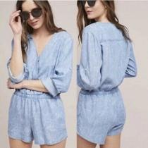 Anthropologie Cloth & Stone Chambray Romper Blue White Size Xl Excellent Photo