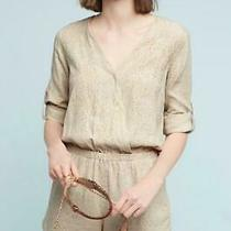 Anthropologie Cloth & Stone Size Xl Dahl Romper Beige Animal Print Pockets New Photo